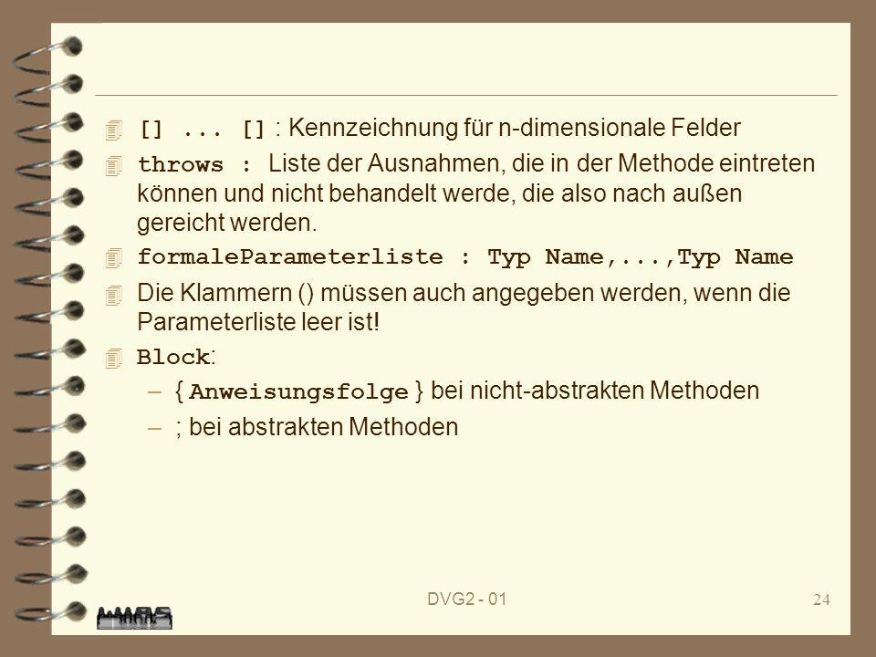 [] ... [] : Kennzeichnung für n-dimensionale Felder